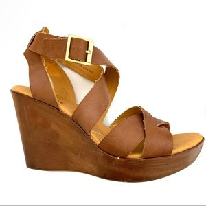 Kork-Ease leather wedge strap shoes size 9 (40.5)